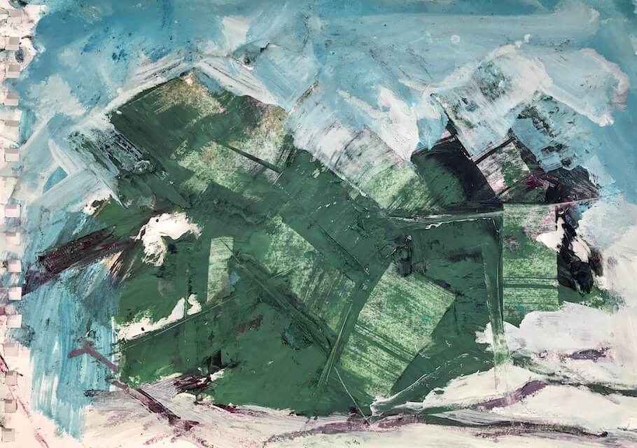 Sem título - 2017 - acrílica, bastão e óleo sobre papel - 21 x 29 cm