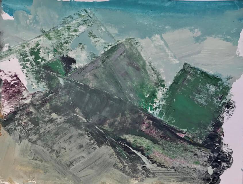 Sem título - 2017 - acrílica, bastão e óleo sobre papel - 24 x 32 cm
