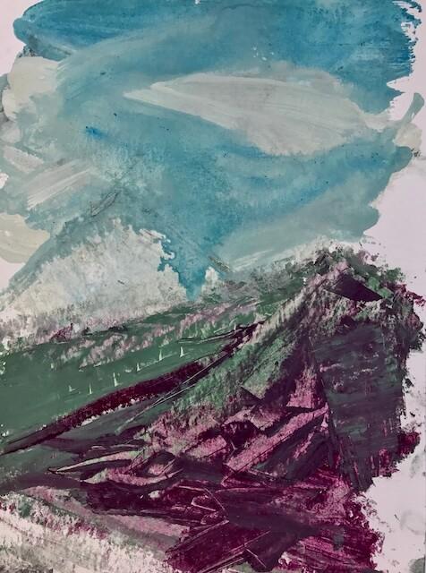 Sem título - 2017 - acrílica, bastão e óleo sobre papel - 32 x 24 cm